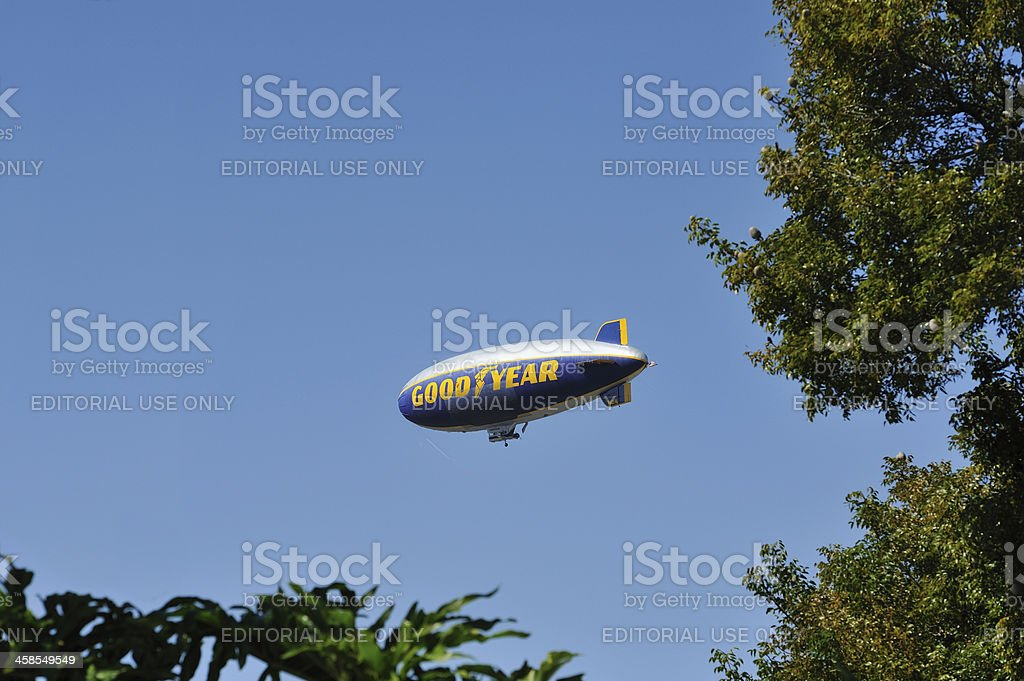 Goodyear Blimp in Flight royalty-free stock photo