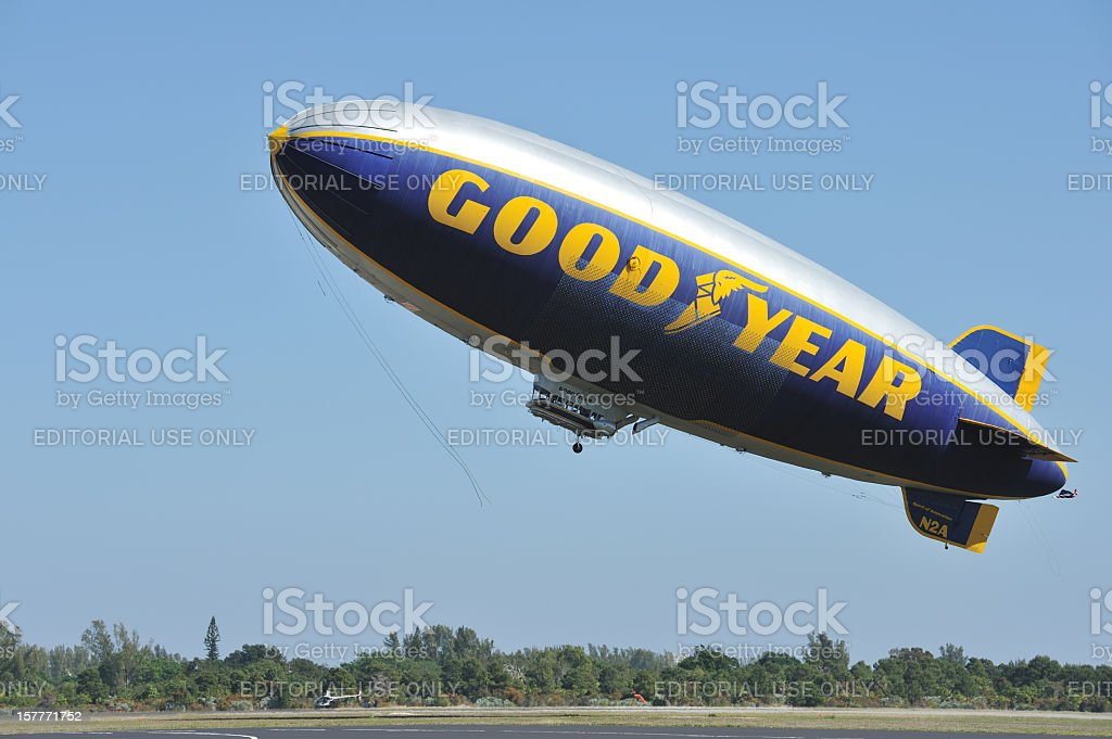 Goodyear Blimp Taking Off stock photo