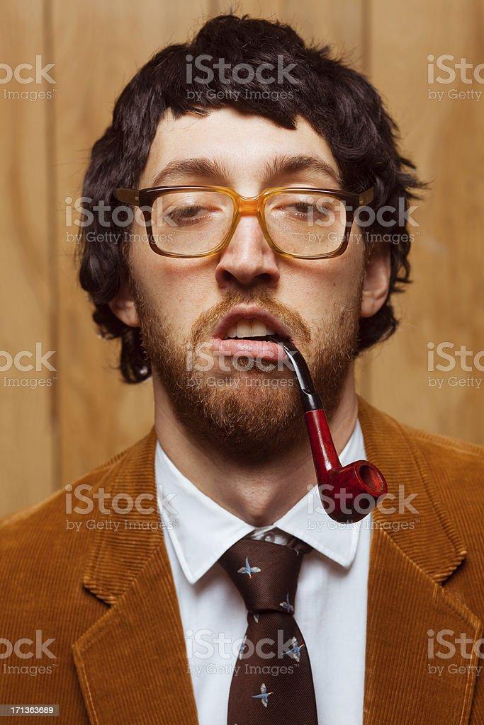 Goofy 1970s College Professor School Portrait Headshot royalty-free stock photo