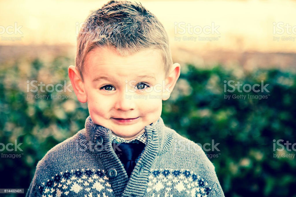 Goofy Boy Grinning stock photo