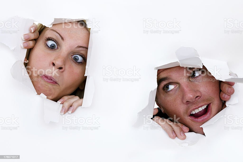 Goofy man and woman royalty-free stock photo