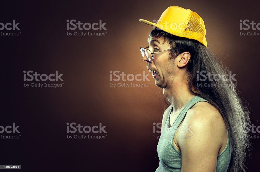 Goofy Redneck With Mullet stock photo