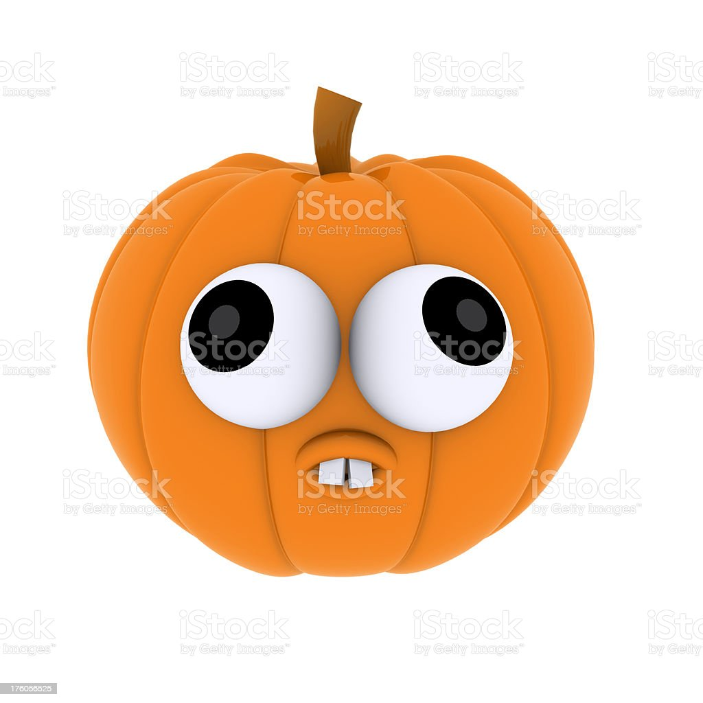 Goofy Scared 3D Halloween Pumpkin Character royalty-free stock photo