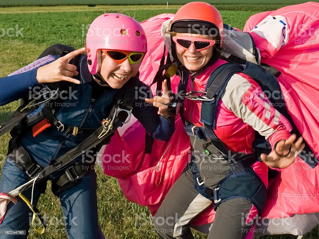 Goofy Skydiver Girls royalty-free stock photo