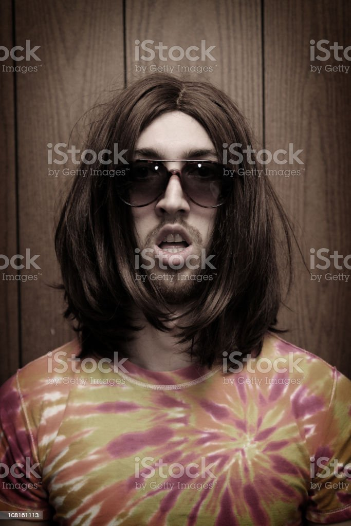 Goofy Young Hippy Man Portrait stock photo