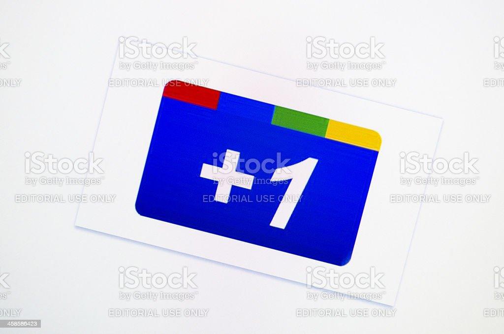 Google +1 social button stock photo