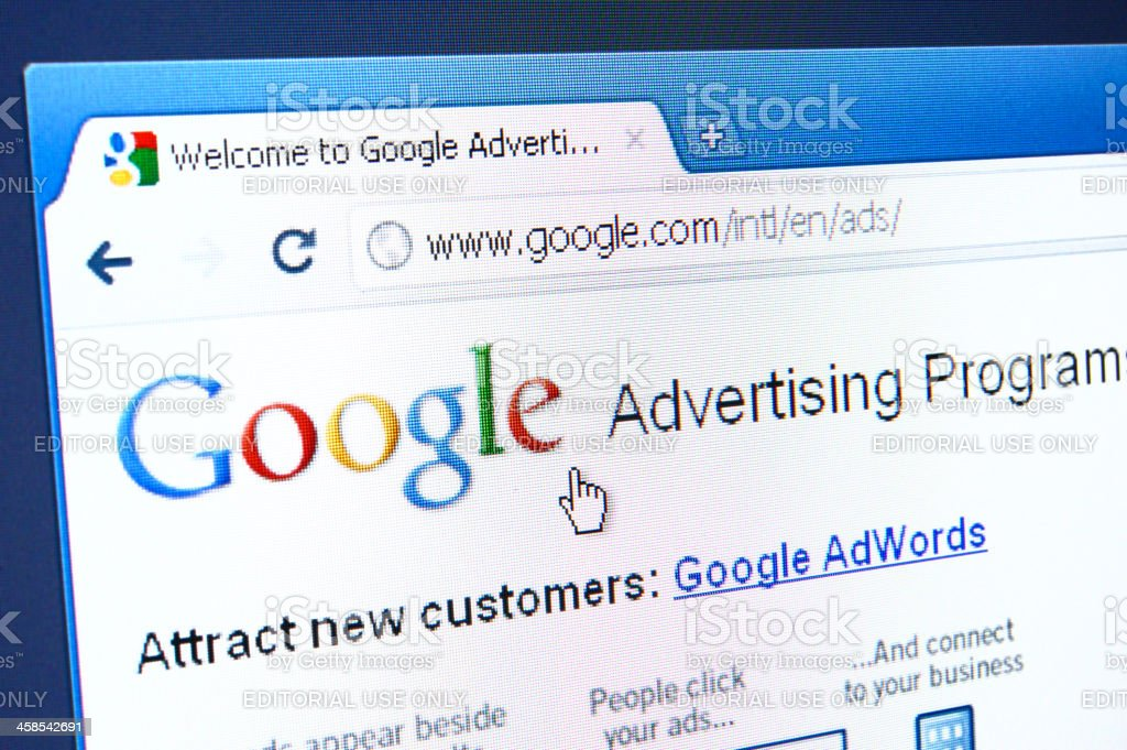 Google Advertising Program webpage on the browser royalty-free stock photo