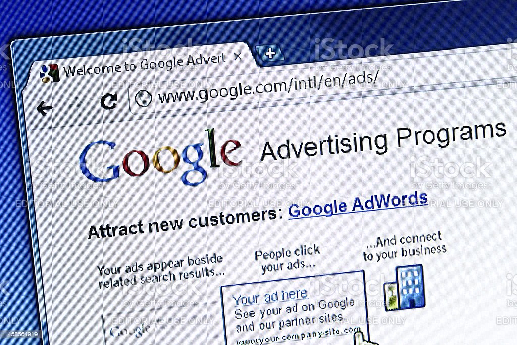 Google Advertising Programs, Closeup on LCD Screen stock photo