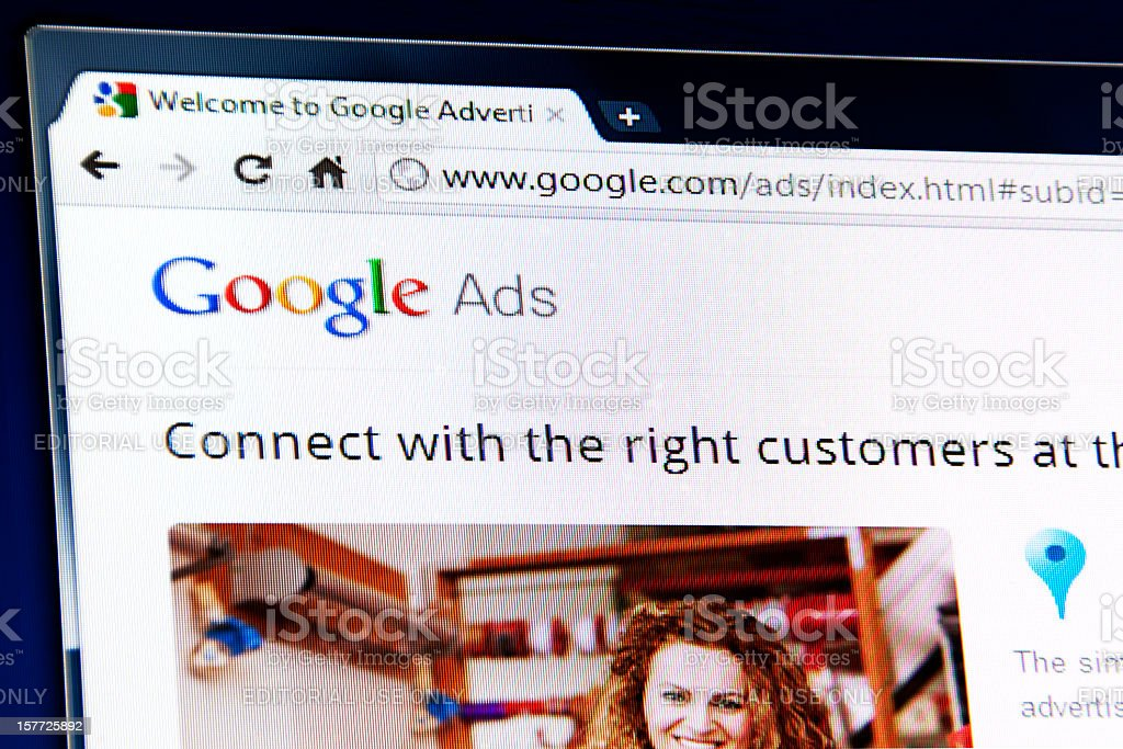 Google Adwords Program webpage on the browser royalty-free stock photo