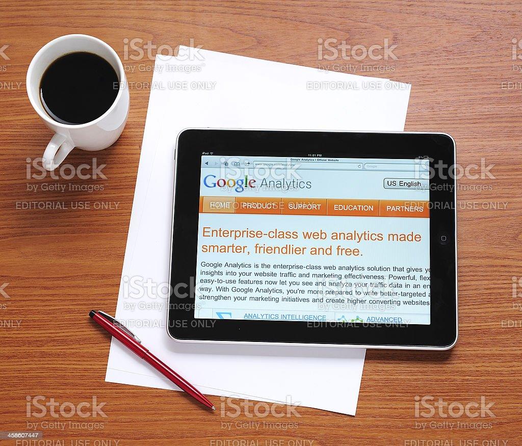Google Analytics on iPad stock photo