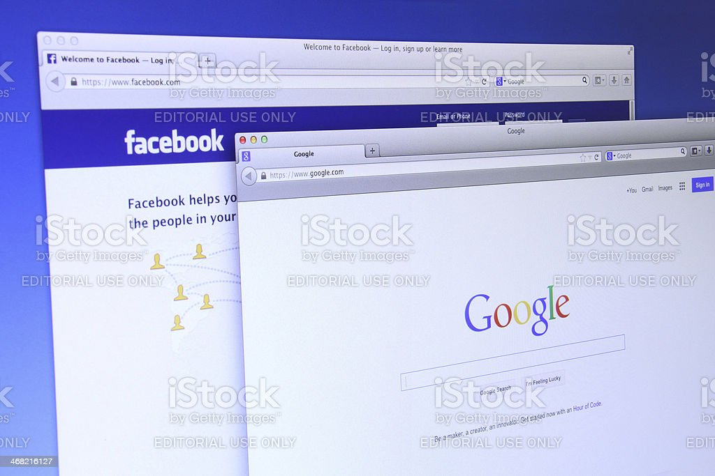 Google and Facebook website stock photo