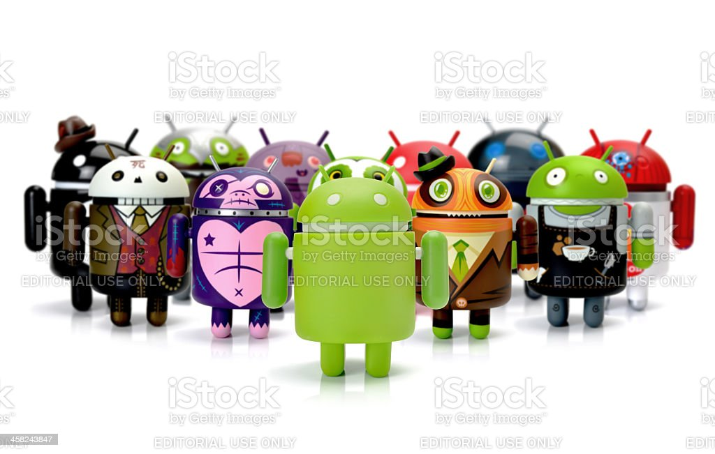 Google Android phone characters group stock photo