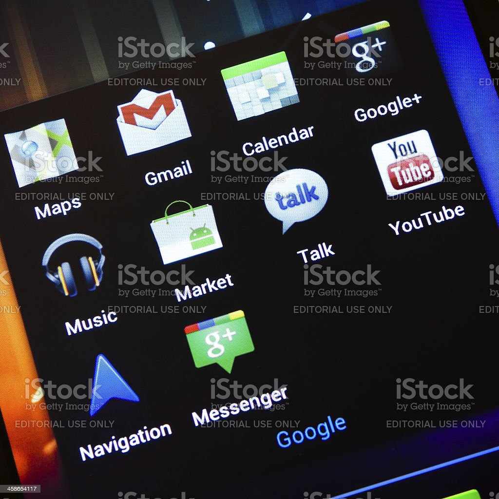 Google Applications on Samsung Galaxy Nexus with Android 4 stock photo
