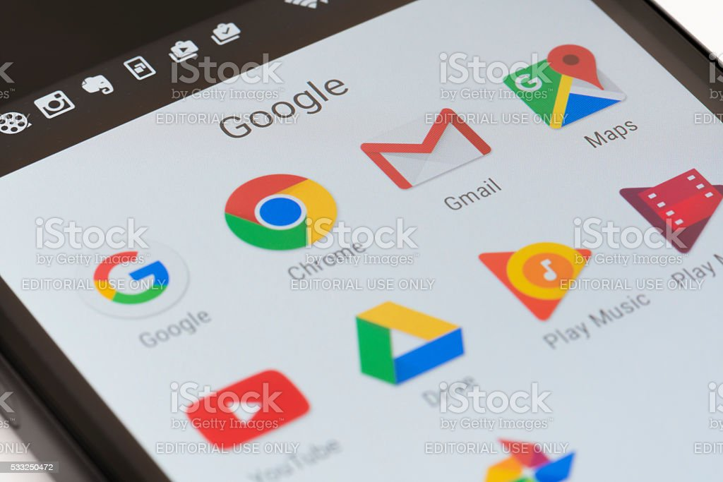 Google apps on Android phone stock photo