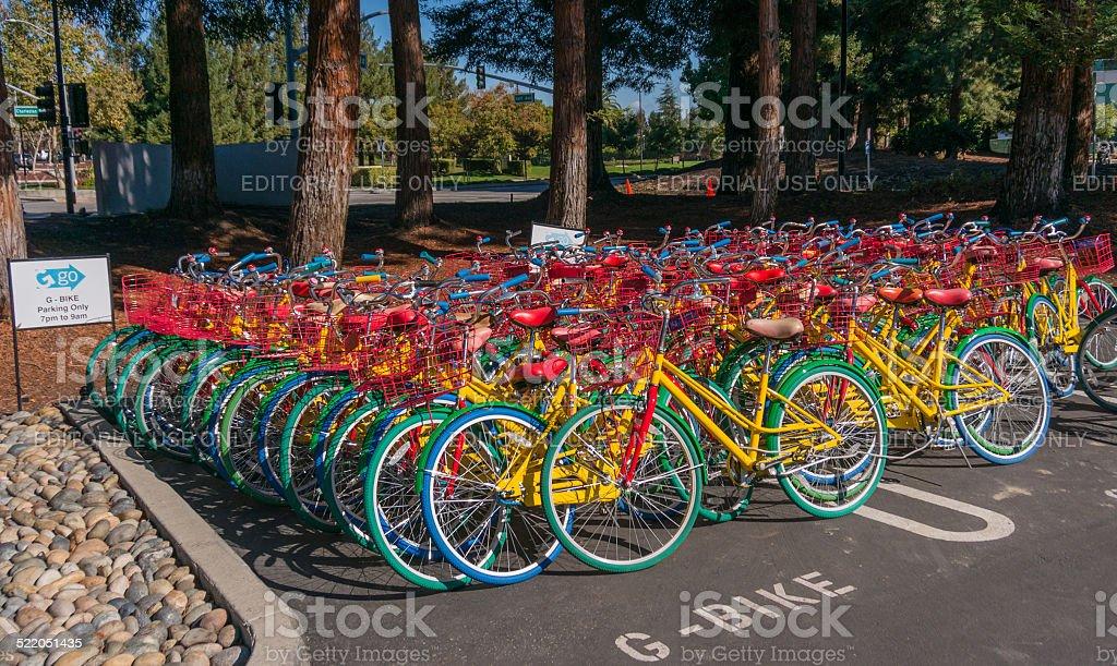 Google bikes in Google campus. stock photo