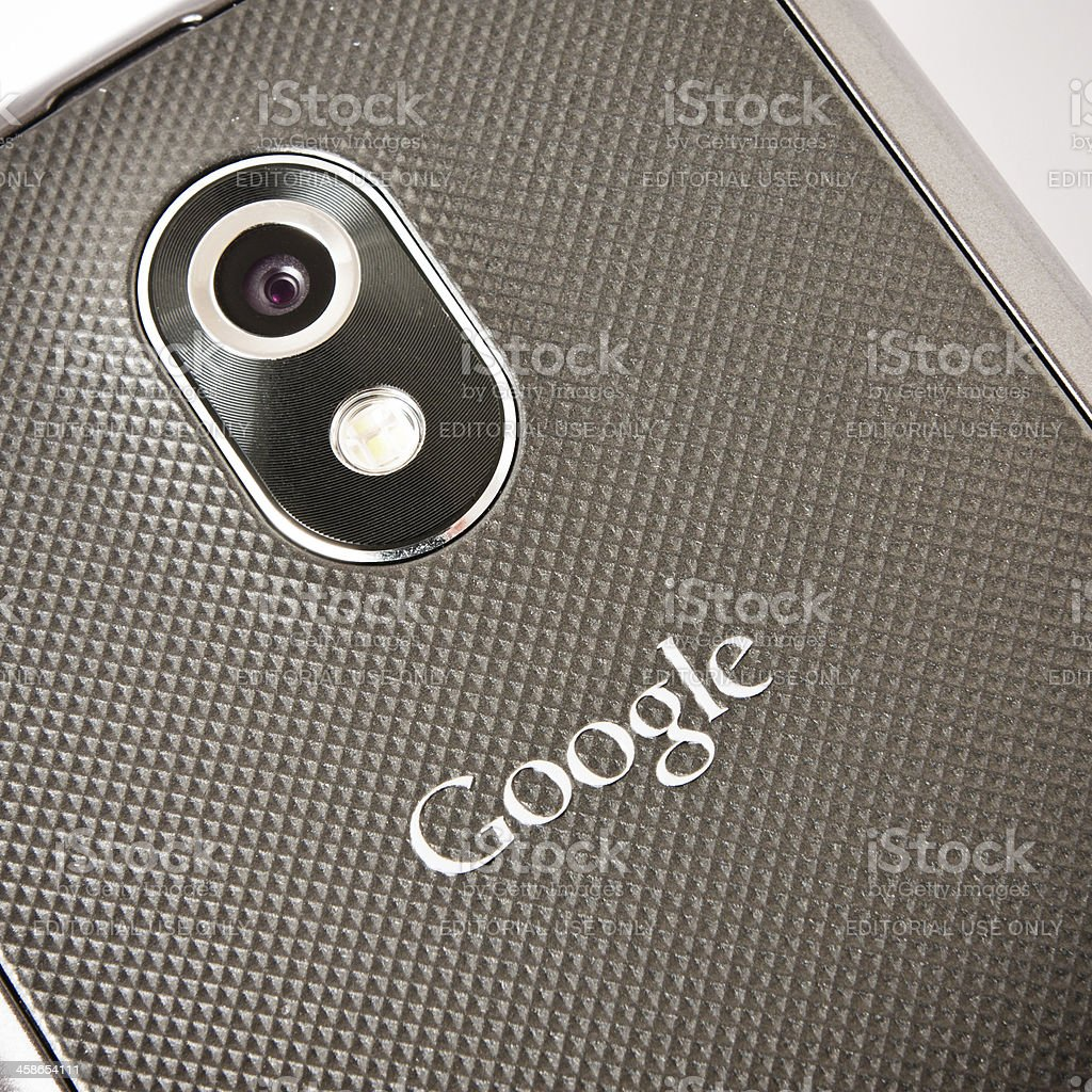Google Brand Name on Galaxy Nexus, Rear View stock photo
