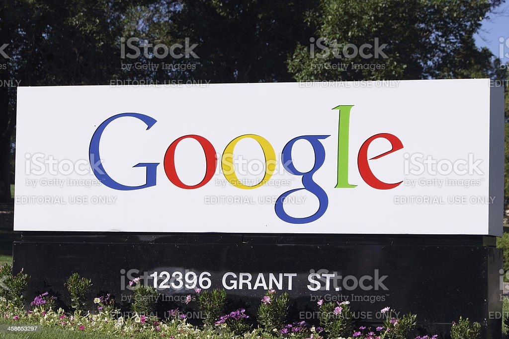 Google company sign with street address stock photo
