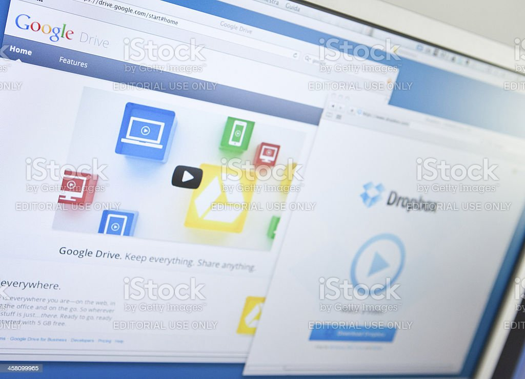 Google drive vs dropbox stock photo