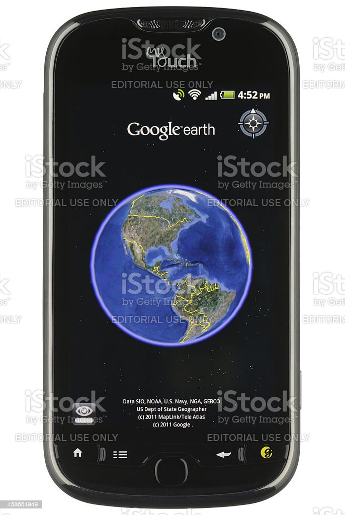 Google Earth Mobile App stock photo