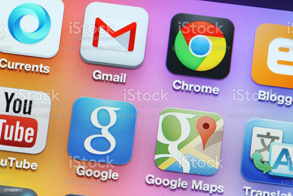 Google family apps on iphone royalty-free stock photo