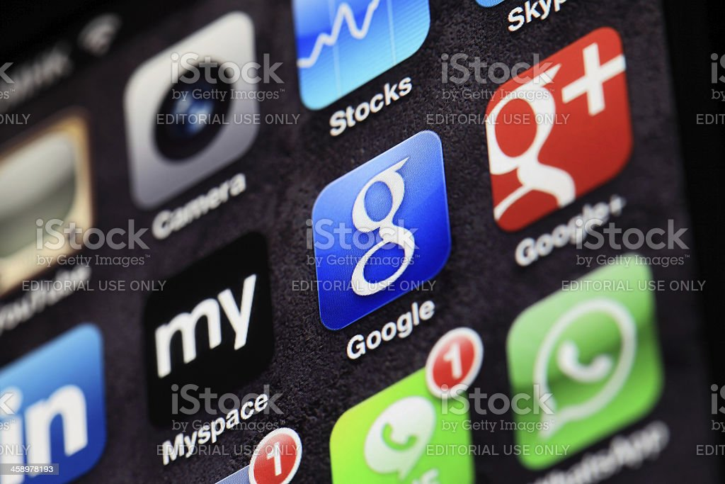 Google for iphone royalty-free stock photo