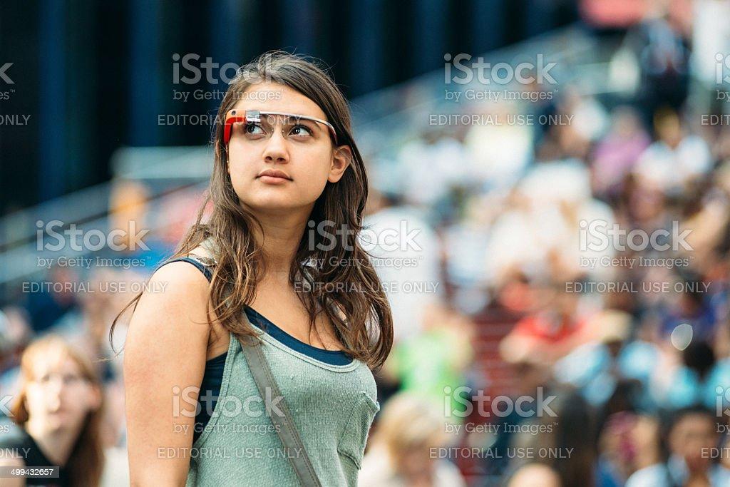 Google Glass New York stock photo