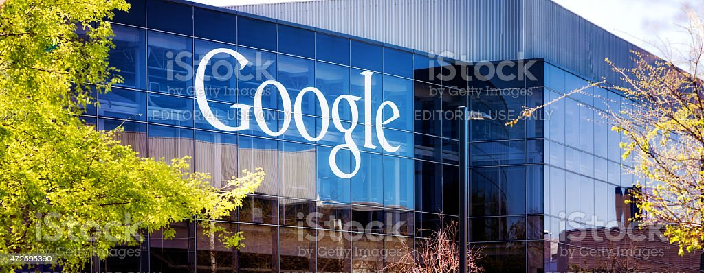 Google headquarters at Mountain view glass building with logo panorama stock photo