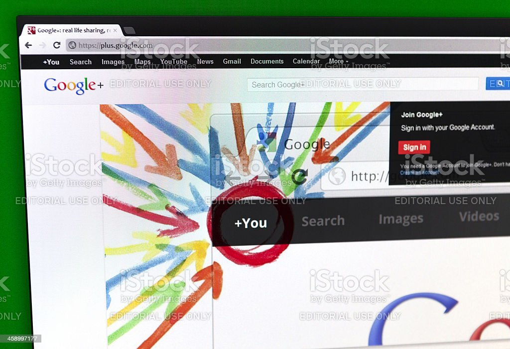 Google+ Homepage royalty-free stock photo