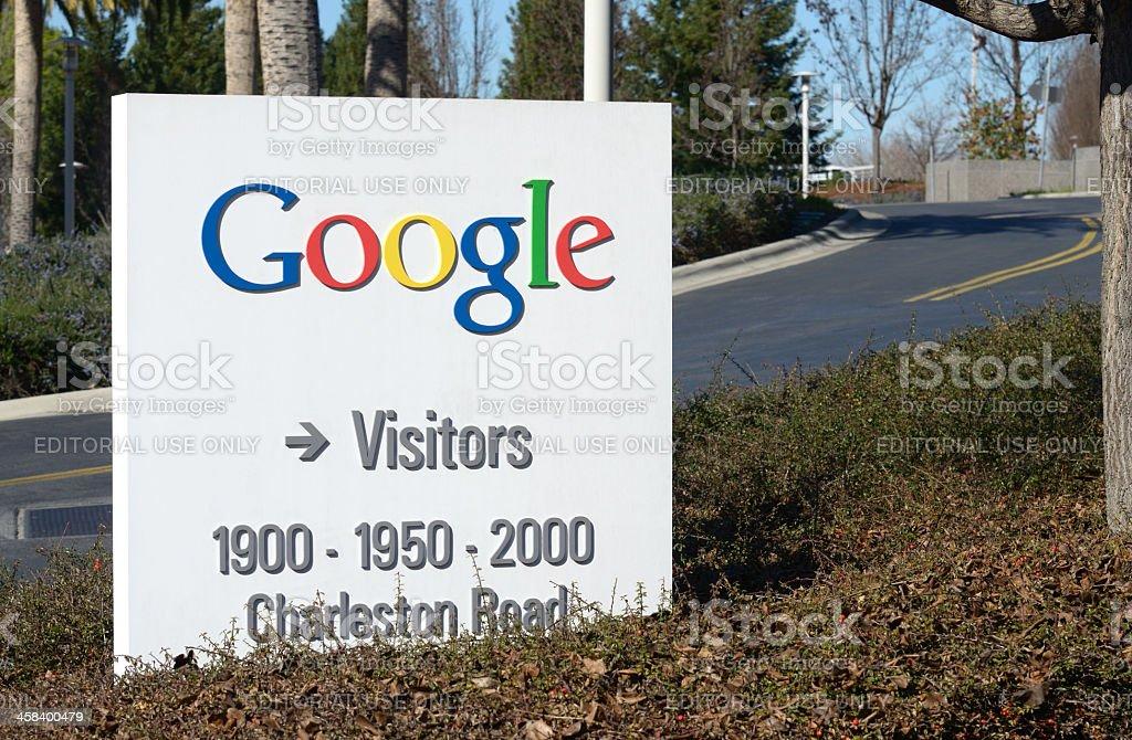 Google logo sign at Google headquarters royalty-free stock photo