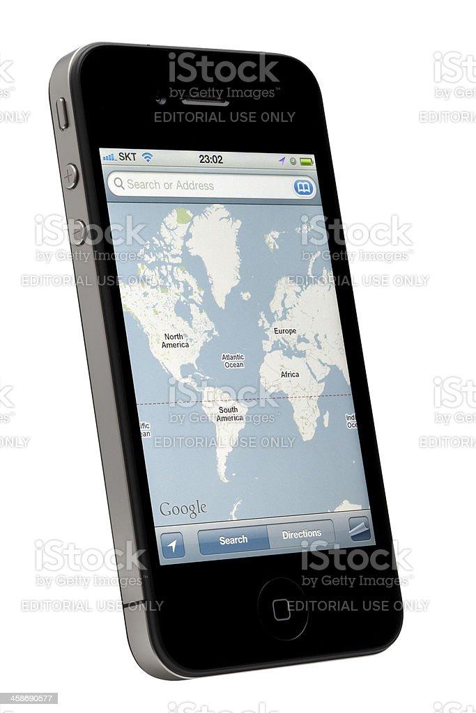 Google Map on Apple iPhone royalty-free stock photo