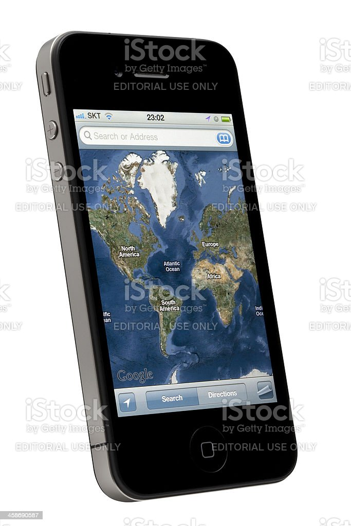 Google Map on Apple iPhone royalty-free stock photo