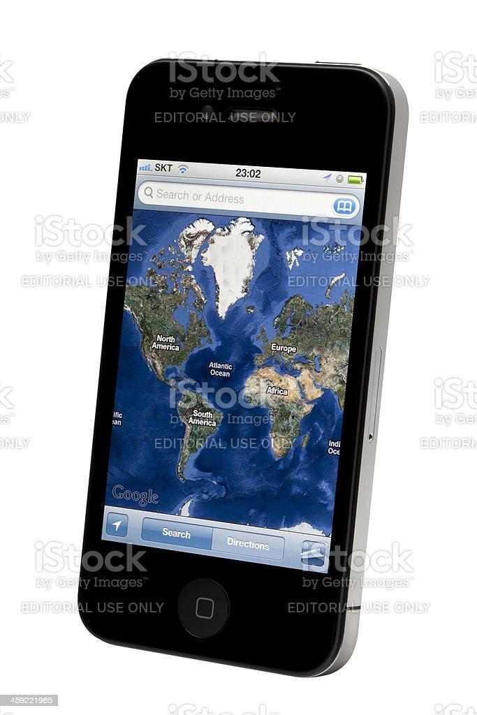 Google Map on Apple iPhone stock photo