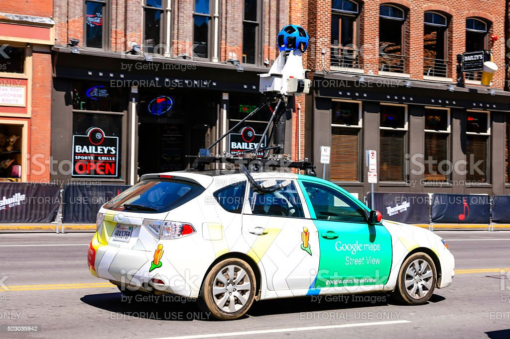 Google Map vehicle on Broadway in downtown Nashville, Tennessee stock photo