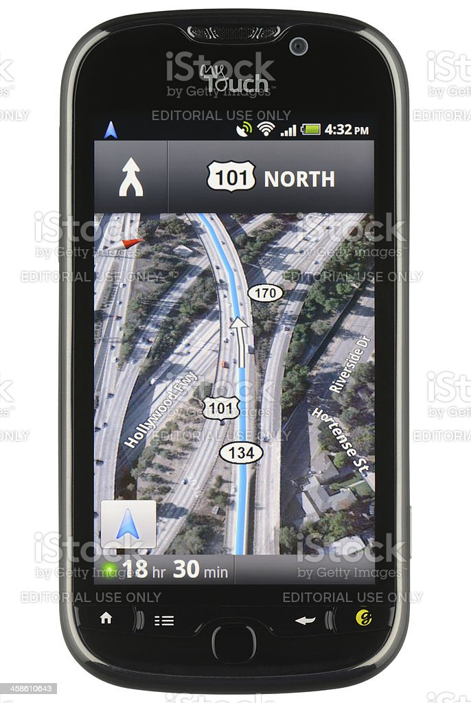 Google Maps Navigation App stock photo