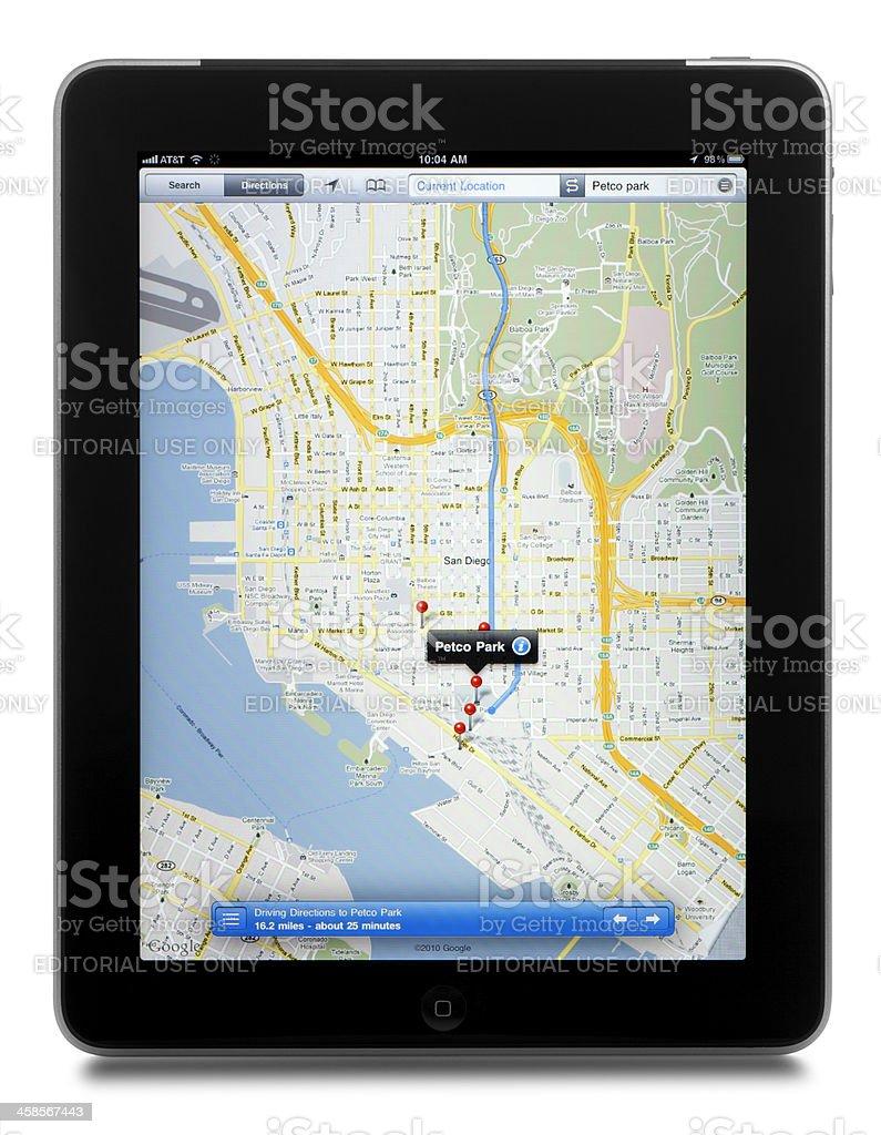 Google Maps on a Apple iPad royalty-free stock photo