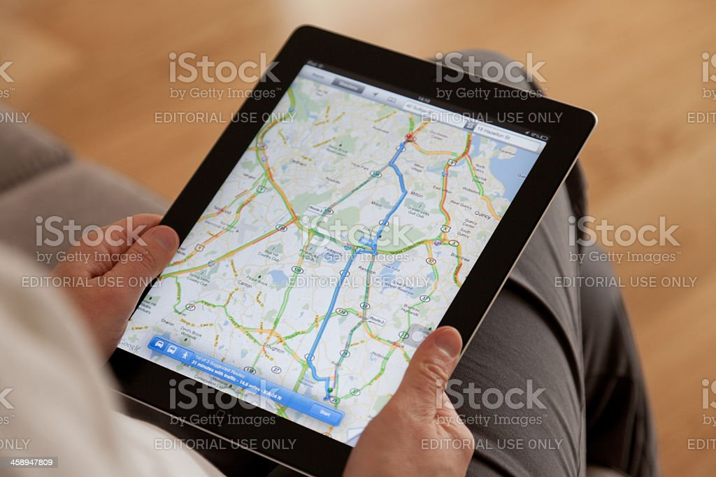 Google Maps on a Apple iPad screen stock photo