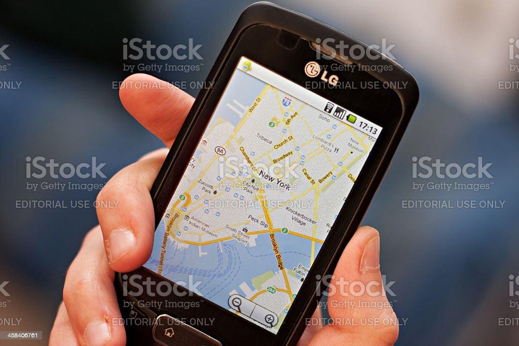 Google Maps on a smartphone stock photo