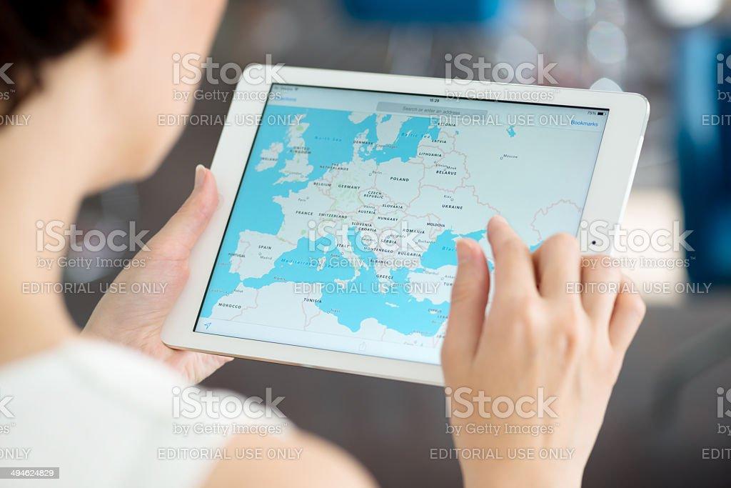 Google Maps on Apple iPad Air stock photo