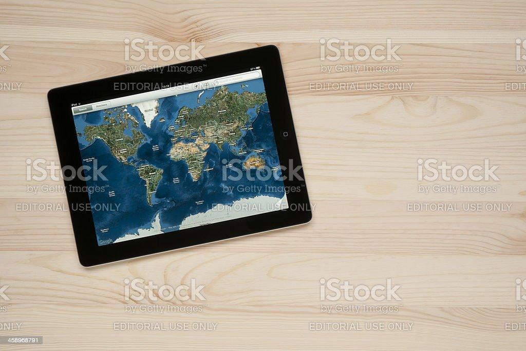 Google maps on Apple iPad royalty-free stock photo