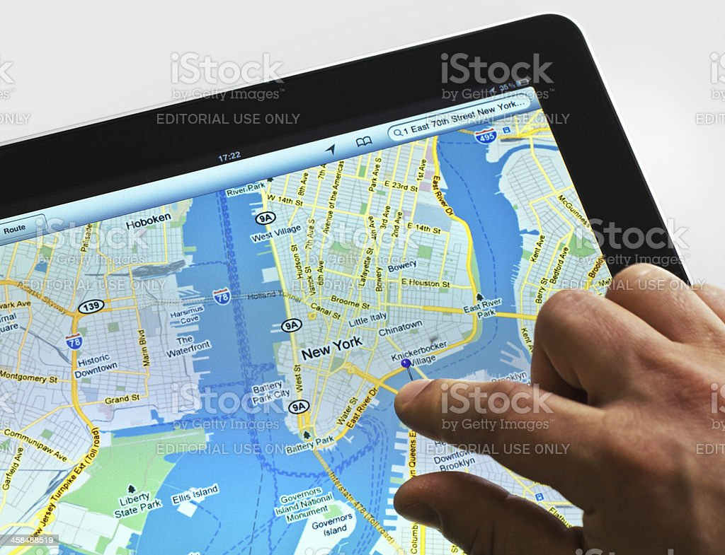 Google Maps on iPad royalty-free stock photo
