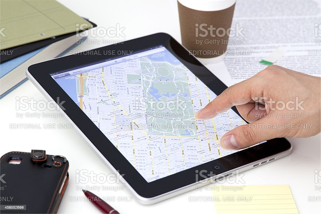 Google Maps on iPad royalty-free stock photo
