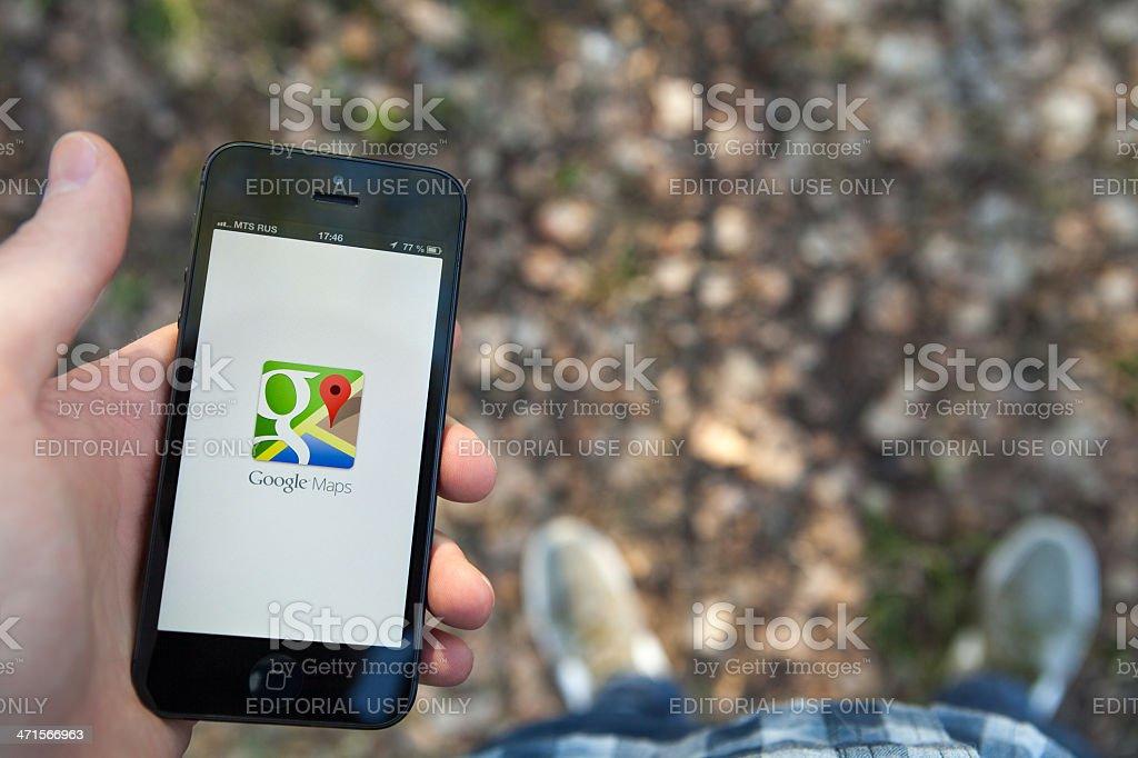 Google Maps on iPhone stock photo