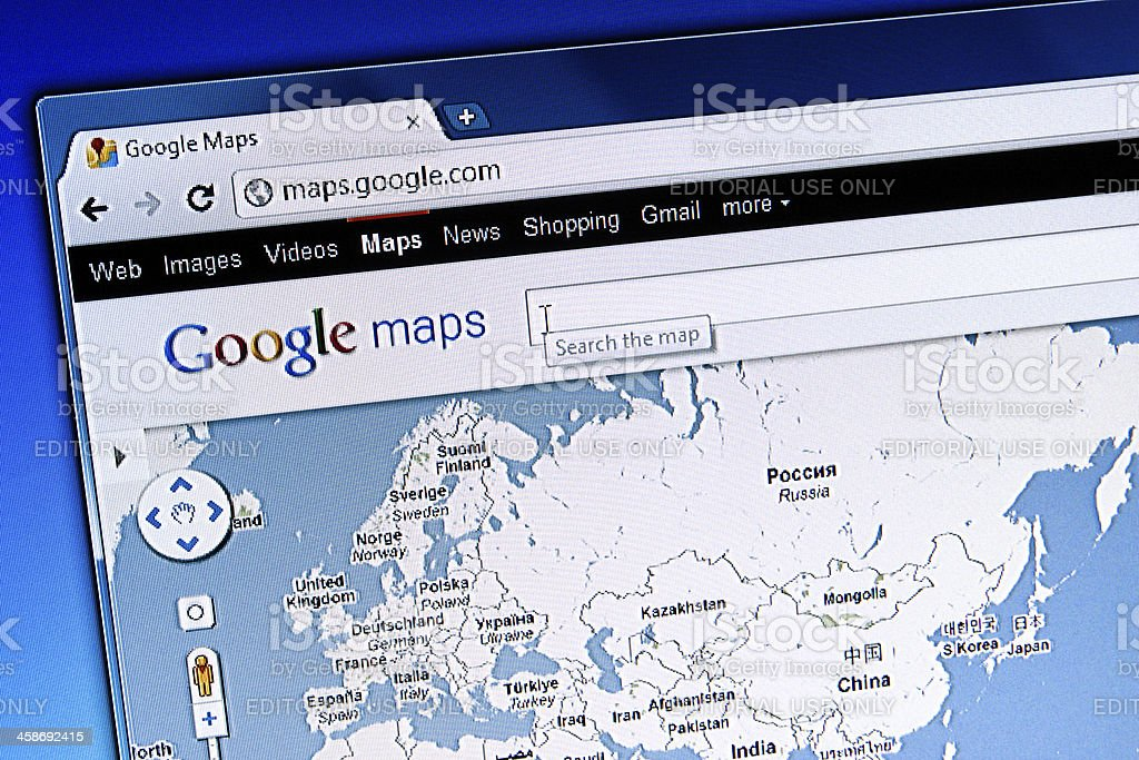 Google Maps Web Page on LCD Screen, Chrome Browser stock photo