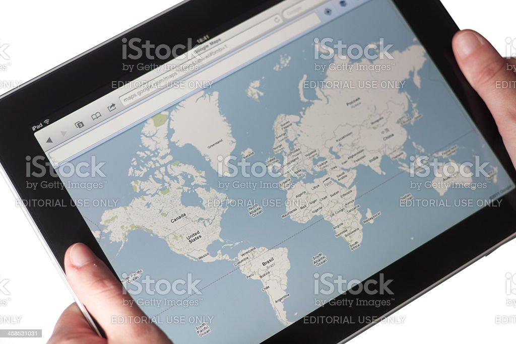 Google maps web pages on Apple Ipad stock photo