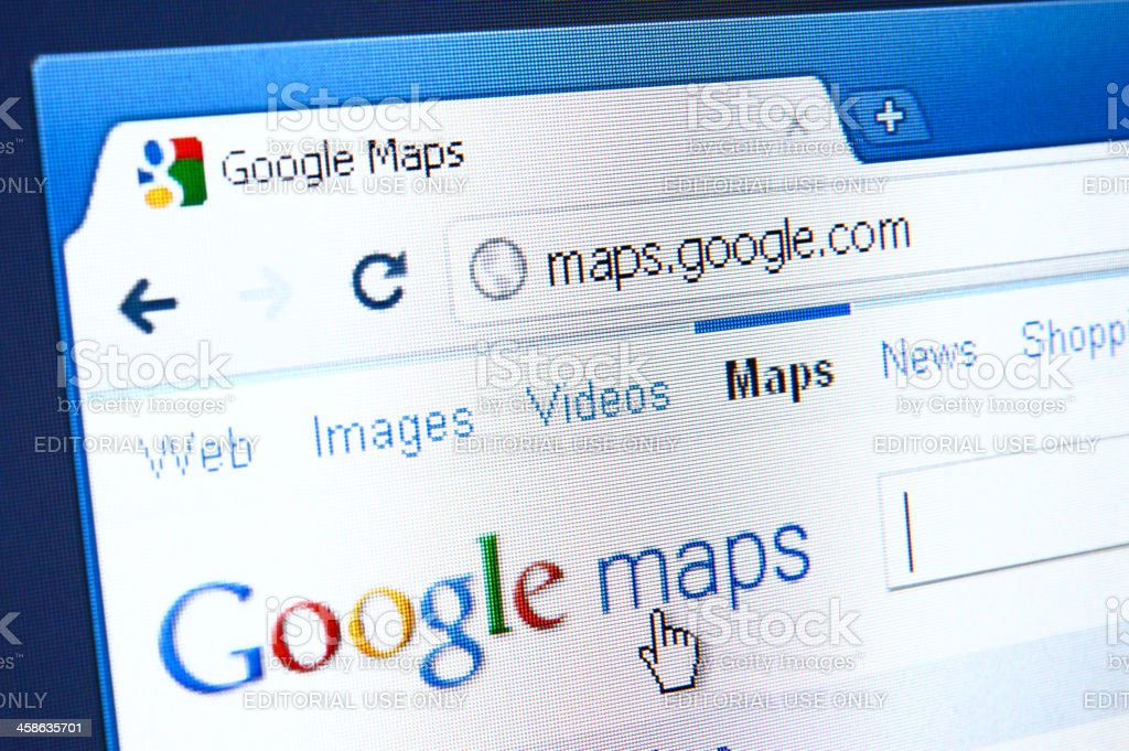 Google Maps webpage on the browser stock photo