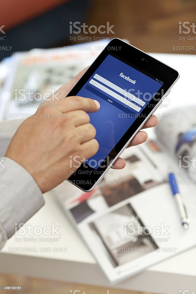 Google Nexus 7 and Facebook stock photo