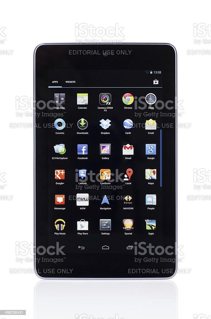 Google Nexus 7 digital tablet isolated on white royalty-free stock photo