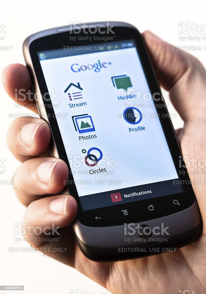 Google+ on HTC Nexus One by Google royalty-free stock photo