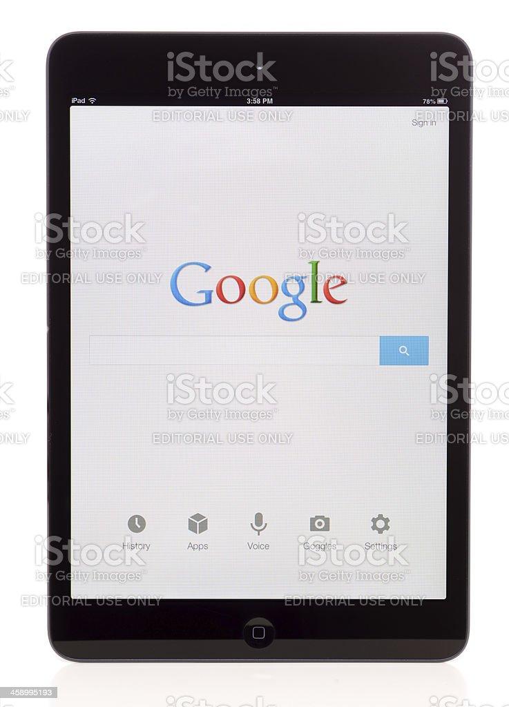 Google on iPad Mini royalty-free stock photo