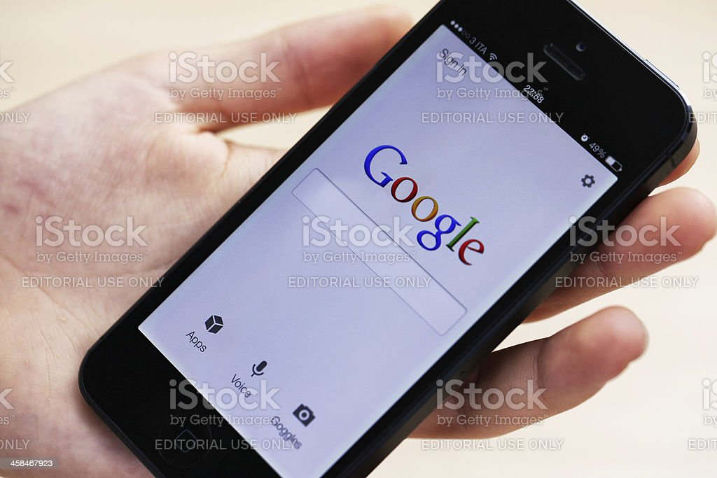 Google on iPhone 5 royalty-free stock photo